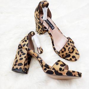 Steven| Vino-L Leopard Pony Fur Ankle-Strap Heels